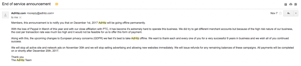 Adhitz is closing down