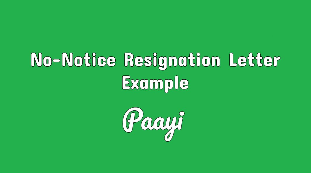 no notice resignation letter example resignation samples paayi