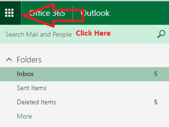 Click Bars on left side of Office 365