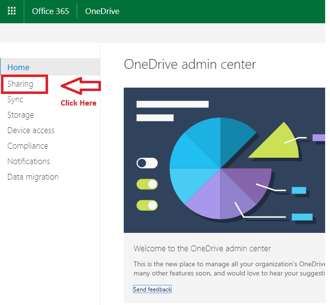 Click sharing in OneDrive office 365