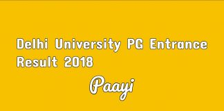 Delhi University PG Entrance Result 2018 sarkari result on paayi