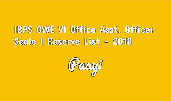 IBPS CWE VI Office Asst. Officer Scale I Reserve List - 2018