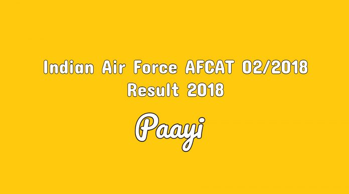Indian Air Force AFCAT 02/2018 Result 2018