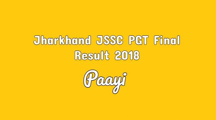 Jharkhand JSSC PGT Final Result 2018