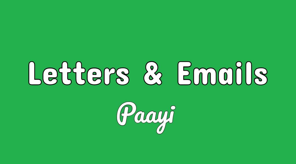 Letters and emails section of paayi