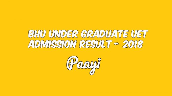 BHU Under Graduate UET Admission Result - 2018, Paayi