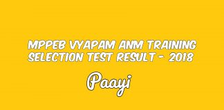 MPPEB Vyapam ANM Training Selection Test Result - 2018, Paayi