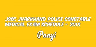 JSSC Jharkhand Police Constable Medical Exam Schedule - 2018, Paayi