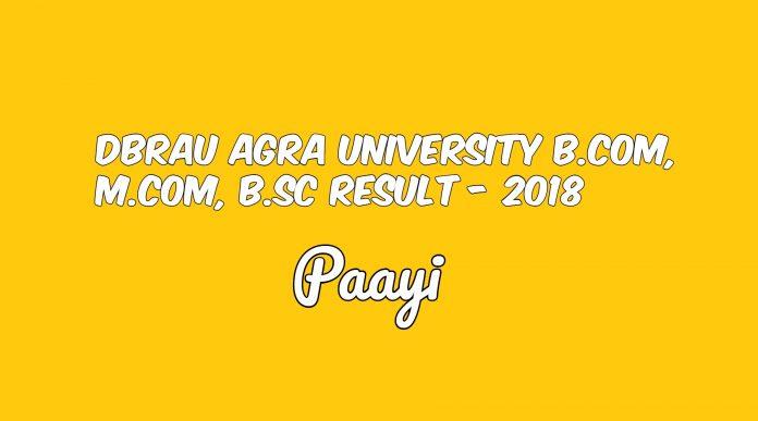 DBRAU Agra University B.Com, M.Com, B.Sc Result - 2018, Paayi