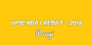 UPSC NDA I Result - 2018, Paayi