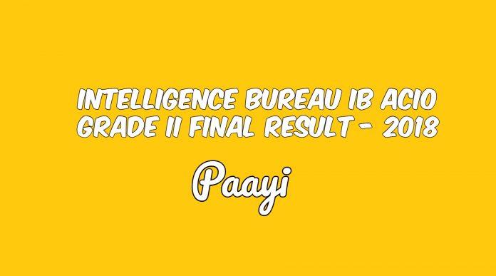 Intelligence Bureau IB ACIO Grade II Final Result - 2018, Paayi