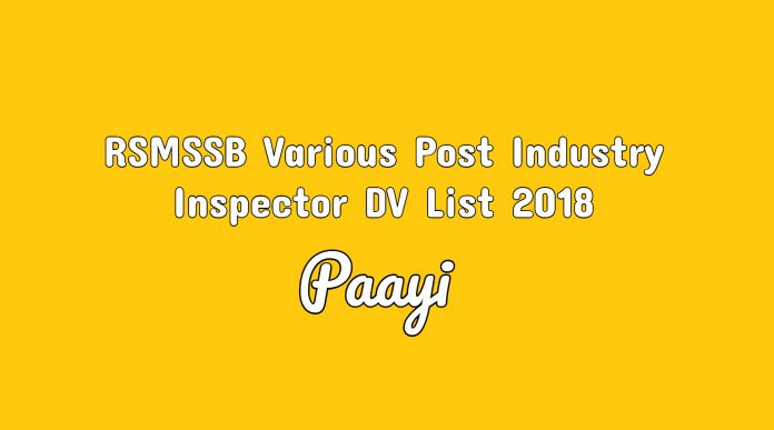 RSMSSB Various Post Industry Inspector DV List 2018