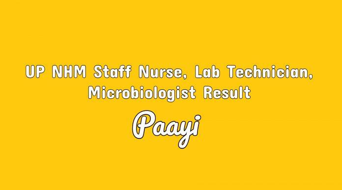 UP NHM Staff Nurse, Lab Technician, Microbiologist Result