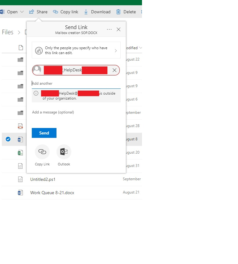 User can share data with Dl from OneDrive