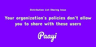 Your organization's policies don't allow you to share with these users.