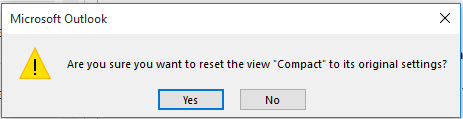Are you sure you want to reset the View