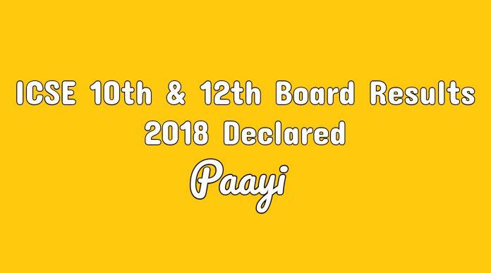 ICSE 10th & 12th Board Results 2018 Declared