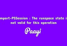 Import-PSSession : The runspace state is not valid for this operation