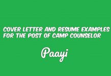 Cover Letter And Resume Examples For The Post Of Camp Counselor, Paayi