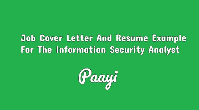 Job Cover Letter And Resume Example For The Information Security Analyst, Paayi