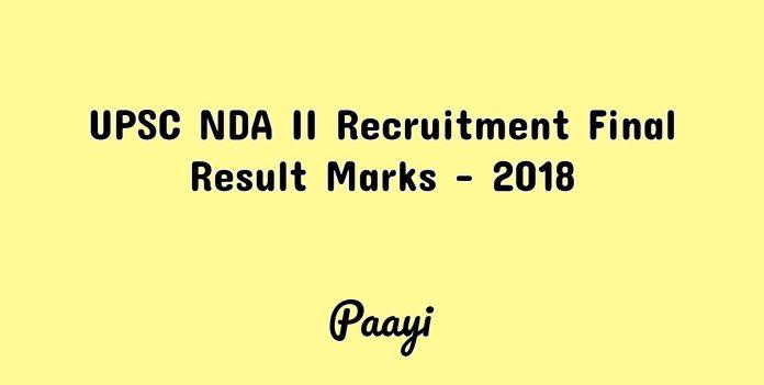 UPSC NDA II Recruitment Final Result Marks - 2018, Paayi