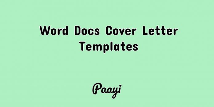 Word Docs Cover Letter Templates, Paayi