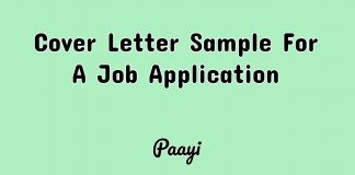 Cover Letter Sample For A Job Application, Paayi