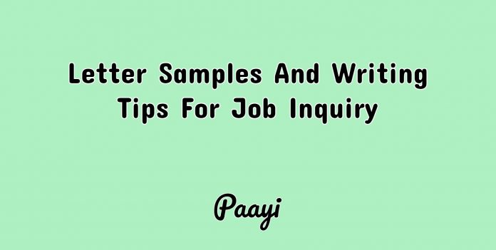 Letter Samples And Writing Tips For Job Inquiry, Paayi