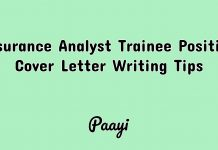 Insurance Analyst Trainee Position Cover Letter Writing Tips, Paayi