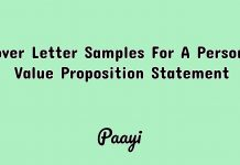 Cover Letter Samples For A Personal Value Proposition Statement, Paayi