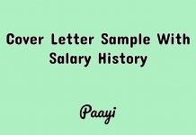Cover Letter Sample With Salary History, Paayi