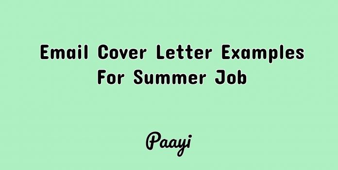 Email Cover Letter Examples For Summer Job, Paayi