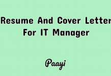 Resume And Cover Letter For IT Manager, Paayi