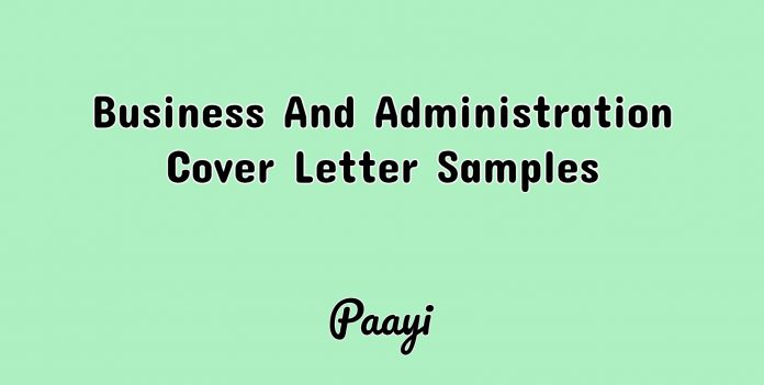 Business And Administration Cover Letter Samples, Paayi