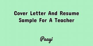 Cover Letter And Resume Sample For A Teacher, Paayi