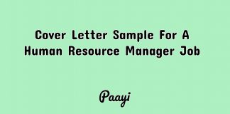 Cover Letter Sample For A Human Resource Manager Job, Paayi