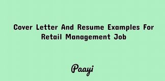 Cover Letter And Resume Examples For Retail Management Job, Paayi