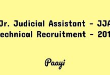 Jr. Judicial Assistant - JJA Technical Recruitment - 2019, Paayi
