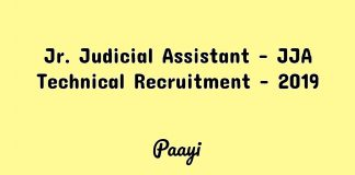 Jr. Judicial Assistant - JJA Technical Recruitment - 2019, Paayi