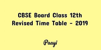 CBSE Board Class 12th Revised Time Table - 2019, Paayi