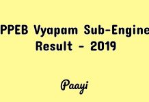 MPPEB Vyapam Sub-Engineer Result - 2019, Paayi