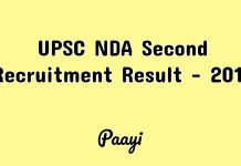 UPSC NDA Second Recruitment Result - 2018, Paayi