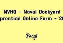 NVHQ - Naval Dockyard Apprentice Online Form - 2018, Paayi