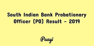 South Indian Bank Probationary Officer (PO) Result - 2019, Paayi