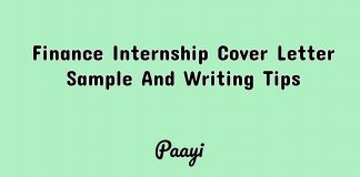 Finance Internship Cover Letter Sample And Writing Tips, Paayi