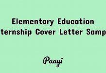 Elementary Education Internship Cover Letter Sample, Paayi