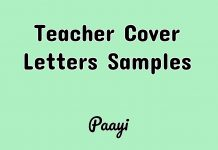 Teacher Cover Letters Samples, Paayi