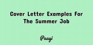 Cover Letter Examples For The Summer Job, Paayi