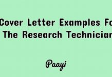 Cover Letter Examples For The Research Technician, Paayi