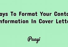 Ways To Format Your Contact Information In Cover Letter, paayi